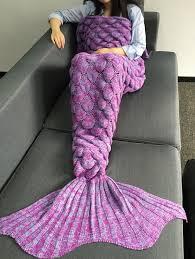 Light Purple M Ms Warmth Crochet Knitting Fish Scales Design Mermaid Tail