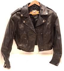 harley davidson leather biker riding jacket womens motorcycle medium cropped m