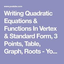 writing quadratic equations functions in vertex standard form 3 points table