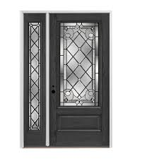 pella 3 4 lite decorative glass right hand inswing stained fiberglass prehung entry door with left sidelight with insulating core common 48 in x 80 in