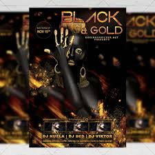 Black Flyer Backgrounds Black And Gold Night Club A5 Flyer Template