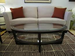 image of oval glass top coffee table