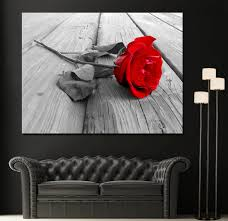 zoomen on red black white wall art with red rose modern home fine black white wall art canvas giclee