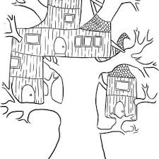 Small Picture Treehouse with Round Stairway Coloring Page Treehouse with Round