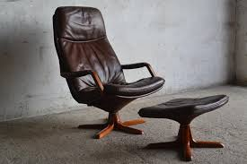 wonderful c90 leather armchair with footstool from berg 1970s
