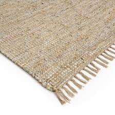 aidas jute and leather rug natural grey la redoute interieurs
