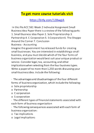 forms of ownership acc 561 week 2 indivudal assignment small business idea paper