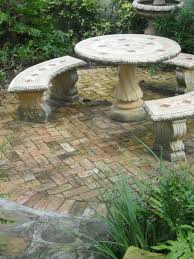before stone garden table