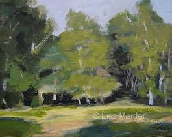 painting of birch trees using a variety of greens