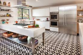 Of White Kitchens With Dark Floors Black And White Kitchen Tiles Outofhome