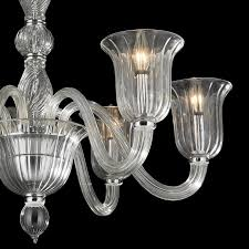 w83173c31 cl murano venetian style 6 light n glass in clear finish chandelier