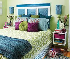 Adorable purple, green and blue bedroom.
