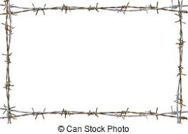 Rusty Barbed Wire  Frame Isolated On  D