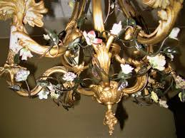 19c french gilt bronze chandelier with porcelain flowers