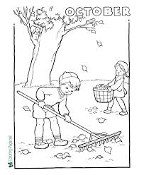 The weather cools off and the colors change and the leaves fall. October Girl Leaves Autumn Coloring Pages