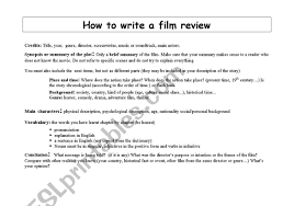 How To Write A Movie Review How To Write A Film Review Esl Worksheet By Audreyhepburn