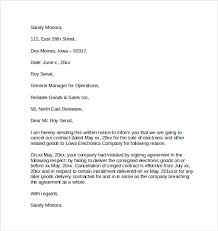 contract notice of cancellation letter letter of contract cancellation
