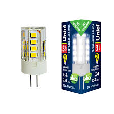 <b>Лампочка Uniel LED</b>-<b>JC</b>-<b>220</b>/<b>3W</b>/3000K/<b>G4</b>/<b>CL GLZ09TR LED</b>-<b>JC</b> ...
