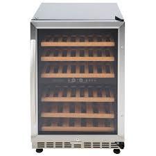 eurodib usf54d single section half height dual temperature glass door wine refrigerator 6 shelves