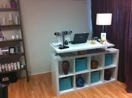 colorful cabinet and white long ikea reception desk using rustic