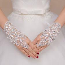 gloves for wedding. stylish party fingerless lace short paragraph rhinestone bridal wedding gloves for w