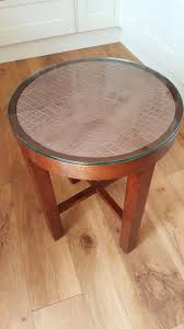 round solid wood side table with removable glass top 30