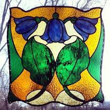 tulip stained glass image of large art tulip stained glass panel victorian tulip stained glass pattern