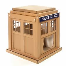 Cardboard House For Cats Dr Who Tardis Cat House Entering Into An Alternative World