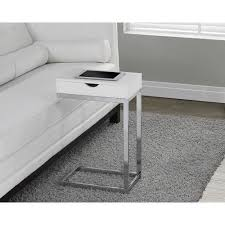 glossy white sofa side table c shape decor accent end stand concealed storage accent coffee table27