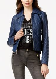 guess penny quilted faux leather jacket