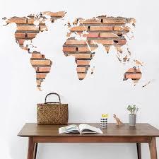 office wall stickers. Stone Brick World Map Home Office Wall Sticker - LIGHT BROWN 60*90CM Stickers