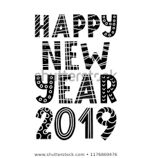 Black And White Greeting Card Happy New Year 2019 Black White Stock Vector Royalty Free