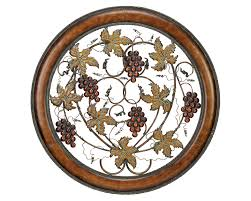 on wine and grapes metal wall art with grapes of plenty round metal wall hanging