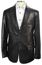 black washed custom leather blazer