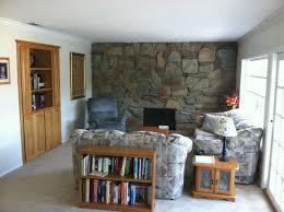 Rock wall fireplace