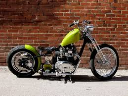 xs650 lime green bobber motorcycle