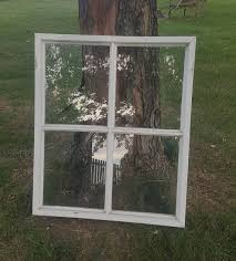 Vintage Old Wood Window Frame Four 4 Pane French Country