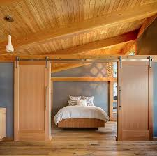 white sliding barn doors. Bedrooms:Rustic Bedroom With Barn Modern Sliding Door Ans White Comfy Bed Also Wood Ceiling Doors Z