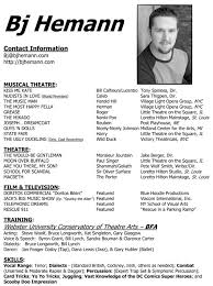 Sample Theatre Resumes Actors Cv Template Yelommyphonecompanyco 97402530117 Professional