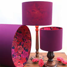 plum and red roses lampshade purple