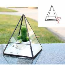 geometric glass terrarium planter pentahedron pyramid shape 7 5 inches tall triangle pyramid shape