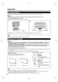 appendix removing the stand setting the tv on the wall sharp aquos 09p09 mx nm user manual page 44 51