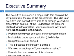 executive summary format for project report executive summary template presentation