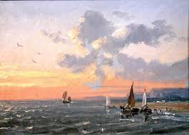 sea view sunset josephine bowes oil painting