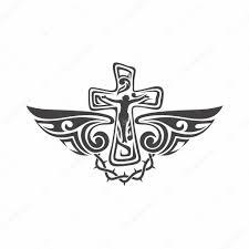 Gothic A Tetování Značky Křesťanské Symboly Kříž A Duch Svatý