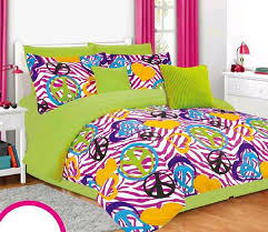 girls twin bedding set lime green pink zebra peace signs hearts bed in bag teen