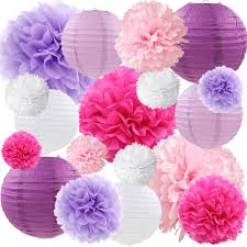 Flower Paper Lanterns Purple And Pink Tissue Paper Pom Poms Flowers Paper Lanterns Decorative Vintage Floral Wedding Bridal Shower Baby Girl Baby Shower Decorations