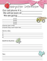 babysitter information sheet printable information for babysitters delli beriberi co