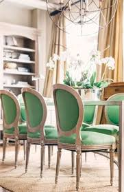 dining room decor ideas transitional style with meal table and beautiful green upholstered chairs