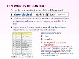 Chronological Words Building Vocabulary Skills Ppt Video Online Download